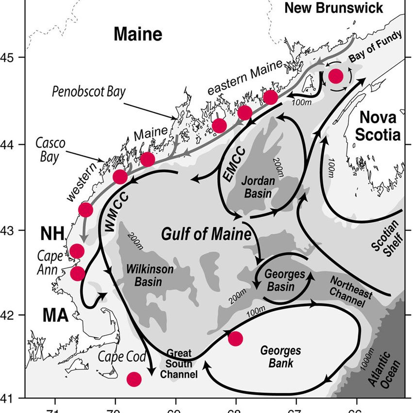 Possible Gulf of Maine deployment sites for ESP instruments