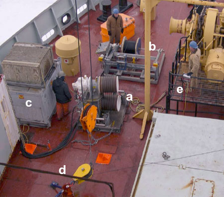 The Lebus traction winch system installed on the fore deck of the LSL:
