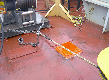 """Wire rope section secured using a Kevlar """"Yale"""" grip"""