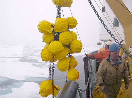 Cluster of glass floats comprising the backup buoyancy being recovered.