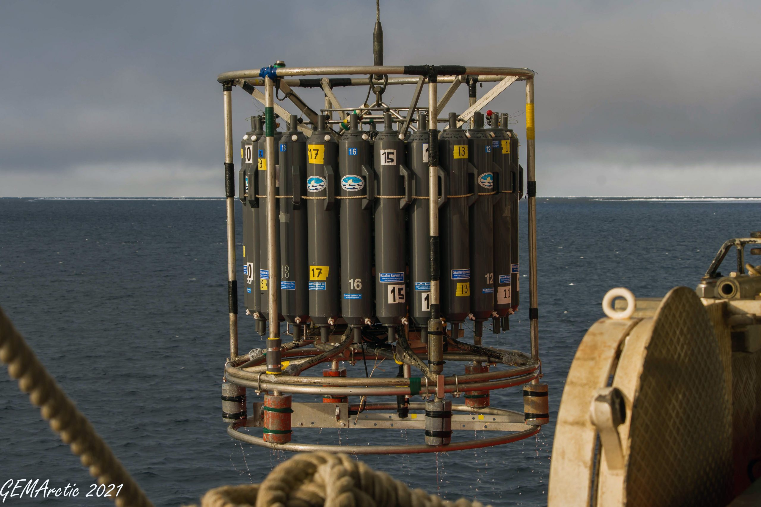 The CTD Rosette returns to the deck after a successful dive. (Photo: Gary Morgan)