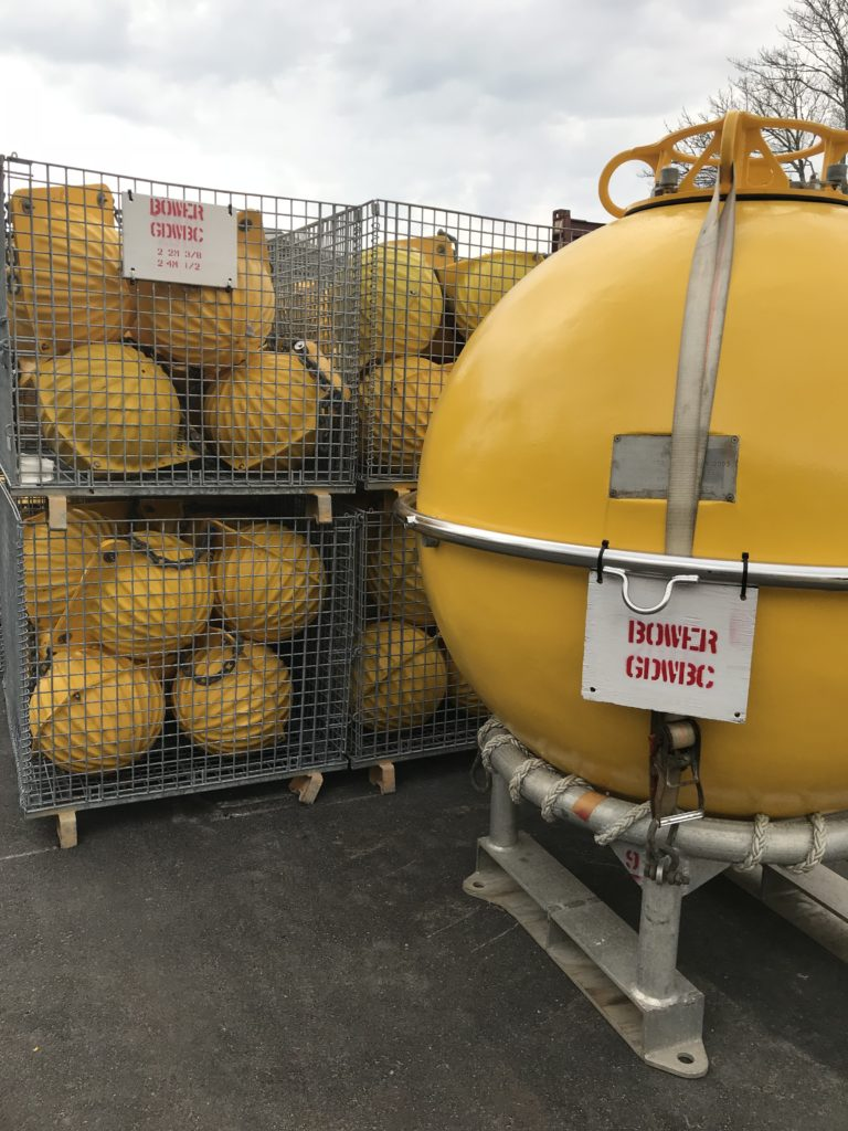 OSNAP GDWBC flotation spheres on the tarmac ready to ship from WHOI to Iceland