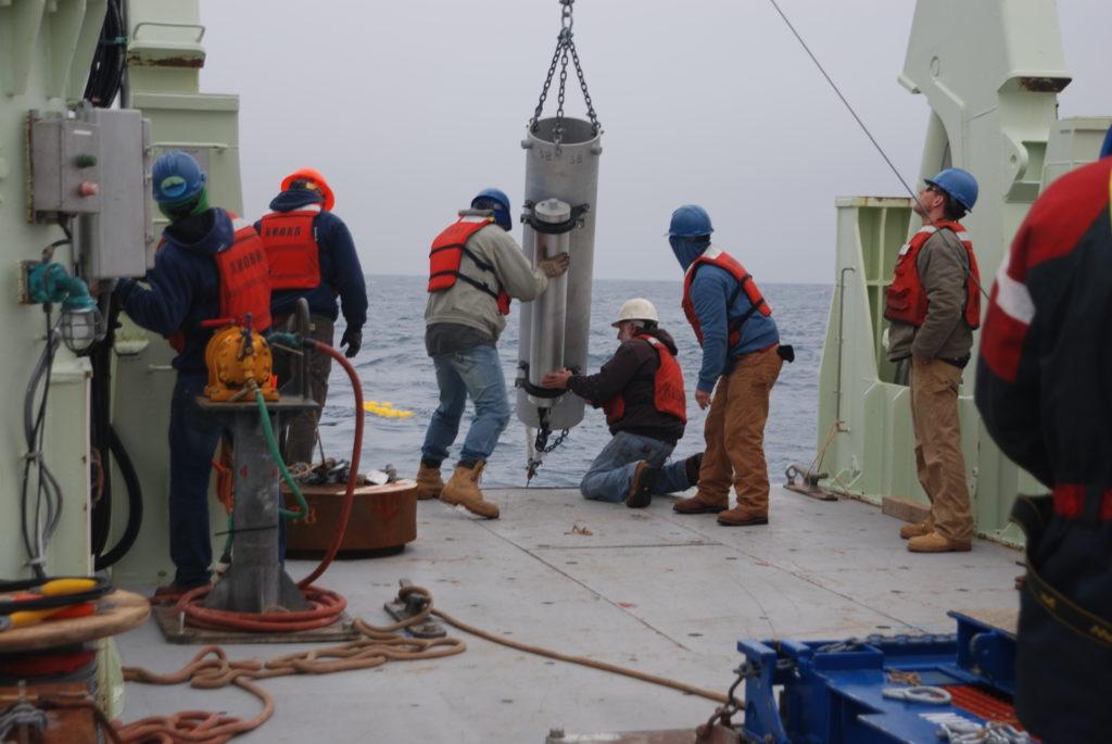 sound source mooring being deployed