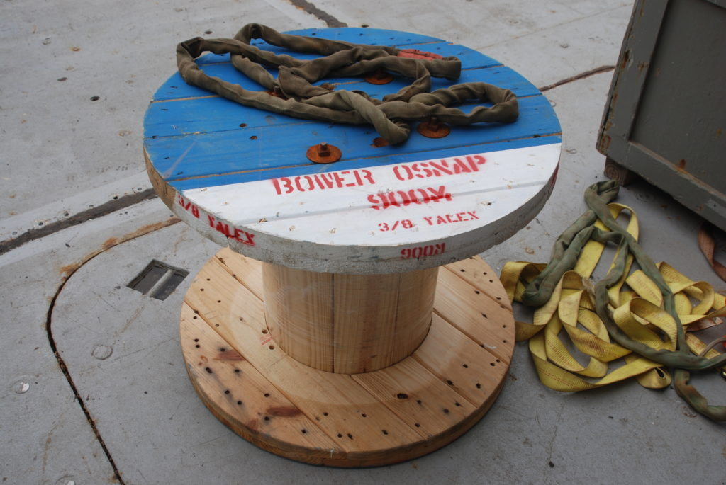 Empty Wooden Reel on deck after OSNAP mooring deployment