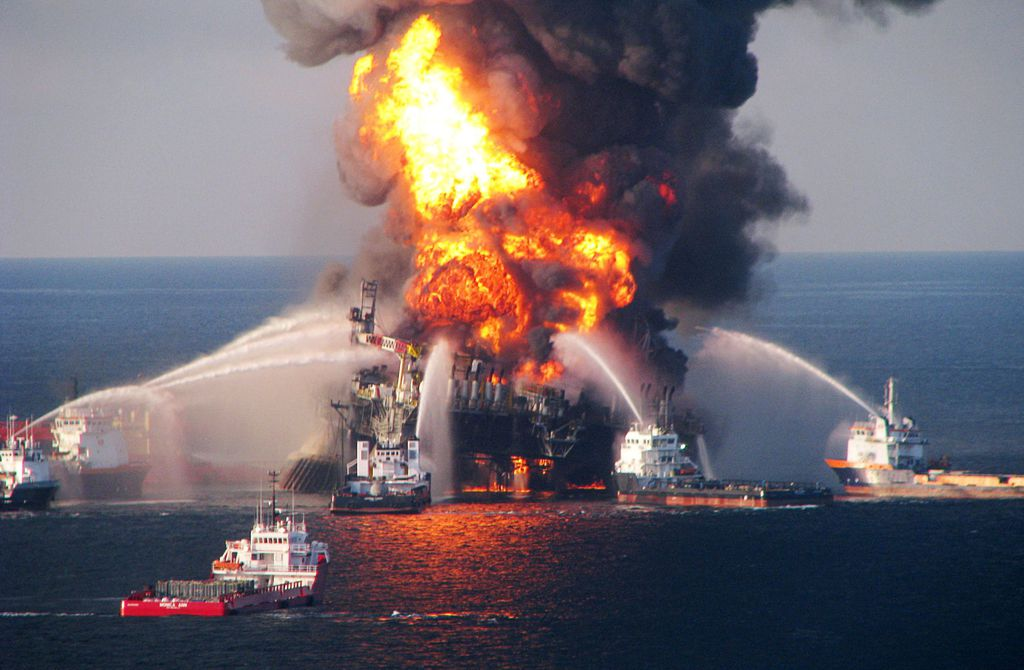 Fire boats battle a fire at the offshore oil rig Deepwater Horizon April 21, 2010, in the Gulf of Mexico.