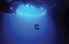 In October 2012, engineers from WHOI's Deep Submergence Laboratory deployed the SeaBED-class vehicle Jaguar into the East Antarctic Sea to create three-dimensional maps of the underside of sea ice. The risks presented by deploying a vehicle under sea ice (and recovering in the event of a failure) makes under-ice exploration a compelling application of robots that safely and effectively extends the reach of humans in the ocean. (Woods Hole Oceanographic Institution)