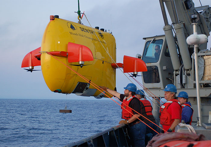 Advances in navigation, localization, and state estimation could permit high-mobility AUVs such as Sentry to routinely operate in close proximity to complex, human-made infrastructure and environments. (Woods Hole Oceanographic Institution)