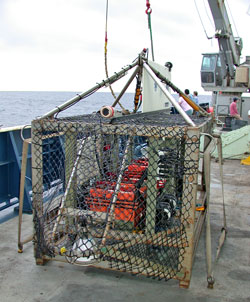 The four TowCam camera frames are staged as follows. The prototype frame (TowCam#1) (~1700 lb. air-weight, ~900 lb water-weight fully configured) is resident on R/V Atlantis for use as a nighttime survey system to complement Alvin diving operations.