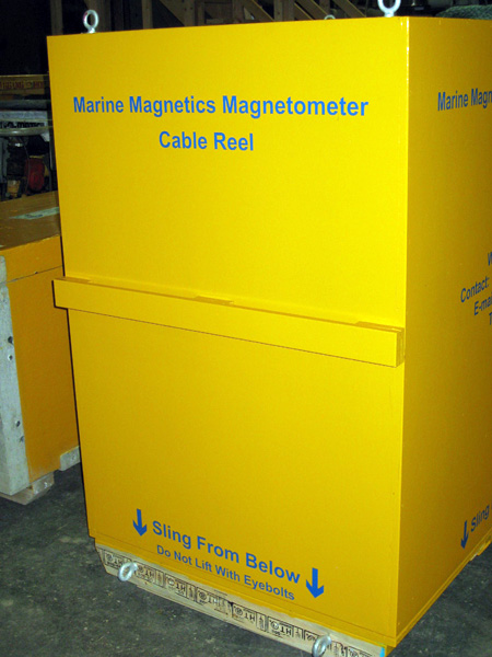 Side and front views of magnetometer winch/cable shipping container (top and bottom).