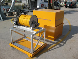 Magnetometer cable and air-powered winch system and shipping box.