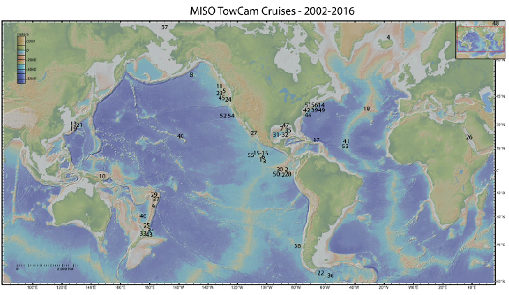 Map of cities that cruises go through 2002-2016