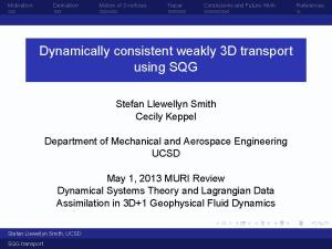 Dynamically Consistent Weakly 3D Transport Using SQG