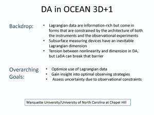 DA in OCEAN 3D+1