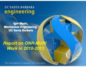 Report on MURI Work