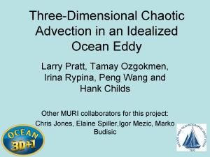 Three Dimensional Chaotic Advection in an Idealized Ocean Eddy