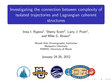 Investigating the connection between complexity of isolated trajectories and Lagrangian coherent structures