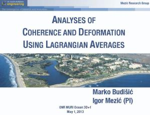 Analyses of Coherence and Deformation Using Lagrangian Averages