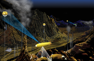 Concept drawing showing an AUV operating around a hydrothermal vent field using a free water optical communication network. (Illustration by E. Paul Oberlander, Woods Hole Oceanographic Institution.)