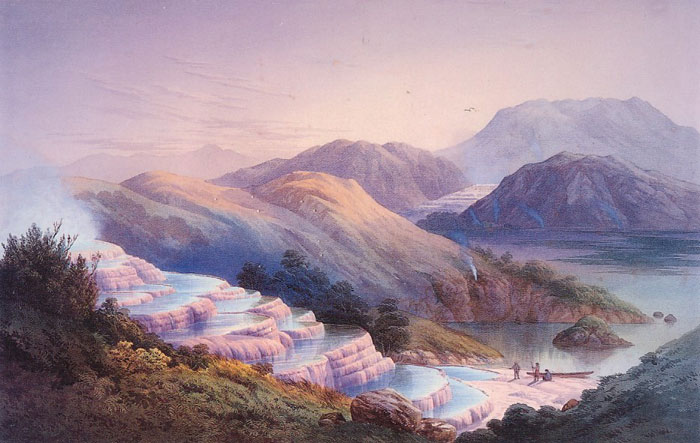 Painting of pink terraces