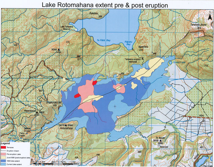 Lake Rotomahana Pre and Post eruption extent in New Zealand.