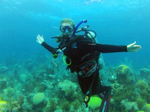 Laura Weber on a coral collection trip to Bermuda.