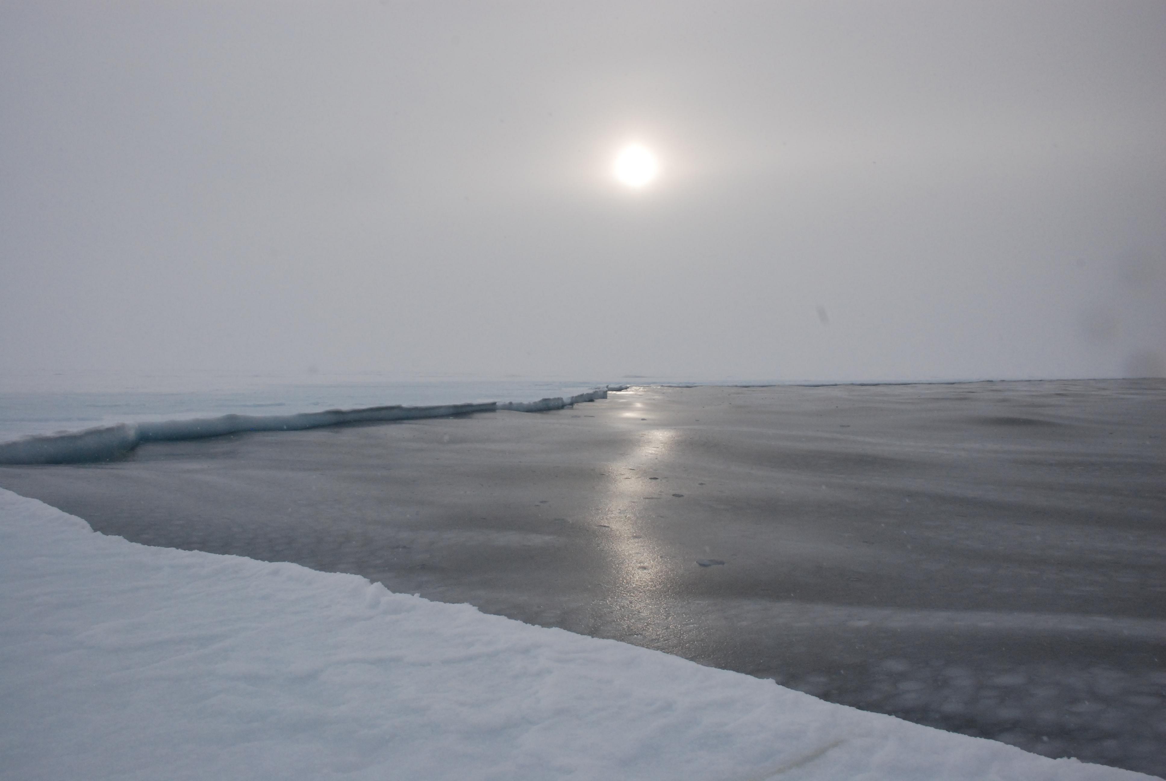 The sea-ice edge in McMurdo Sound, the Ross Sea of Antarctica.