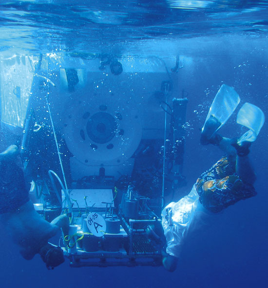 Specially trained swimmers help launch and recover the WHOI-operated deep-diving submersible Alvin
