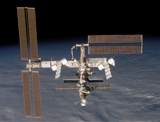 the International Space Station is shown shortly after it separated from space shuttle