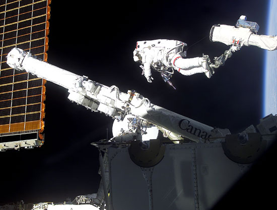 Astronaut Chris A. Hadfield, STS-100 mission specialist representing the Canadian Space Agency (CSA), stands on one Canadian-built robot arm to work with another one