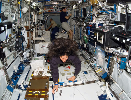 Astronaut Suni Williams, Expedition 14 flight engineer, floats around while working the Destiny laboratory of the International Space Station.