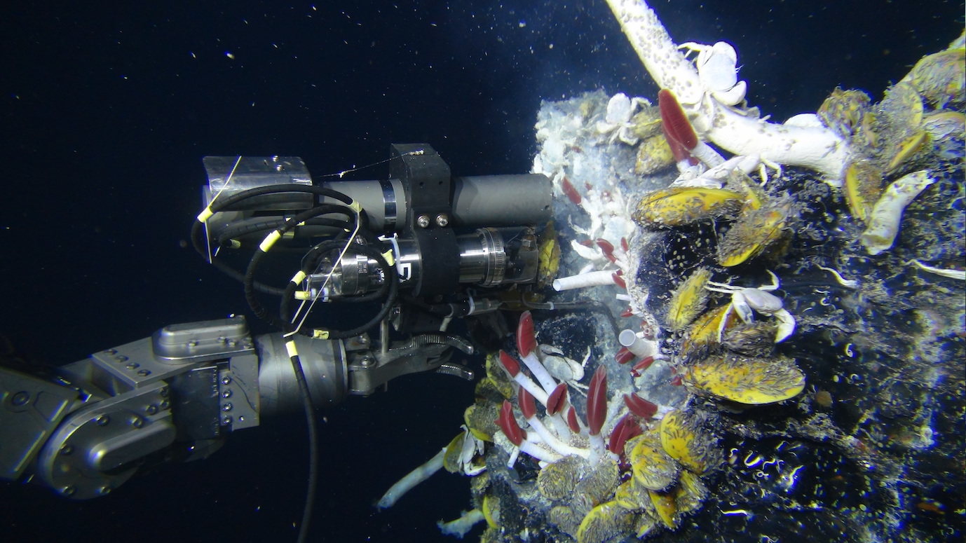 Sampling of vent fluids at the deep-sea hydrothermal vent Crab Spa in 2014