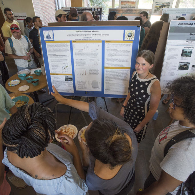 Jeanette Gray at the 2017 SSF poster session. Image copyright Thomas Kleindinst / Woods Hole Oceanographic Institution.