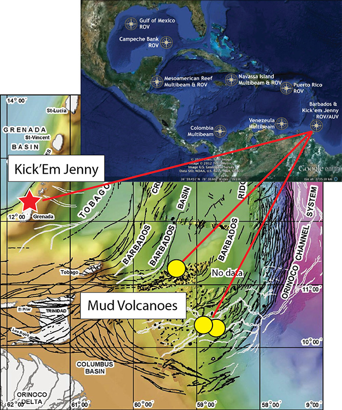 Map showing the TREET field area in the southeast Caribbean, including Kick'Em Jenny (red star) and the Barbados mud volcanoes, which host at least three cold seep sites (yellow circles). Inset: location of the study area in relation to the larger 2014 Caribbean Sea field program for E/V Nautilus.